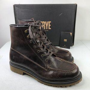 Frye Pine Lug Leather Work Boots Brown Redwood